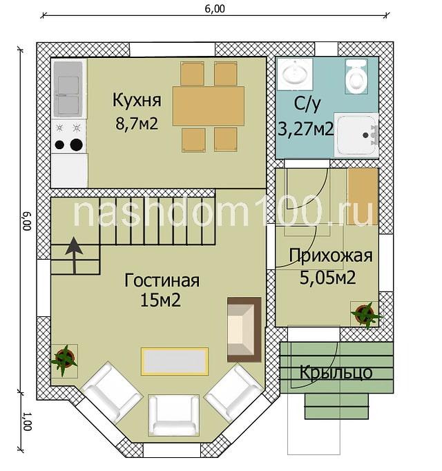 План 1 этажа каркасного дома Д-1