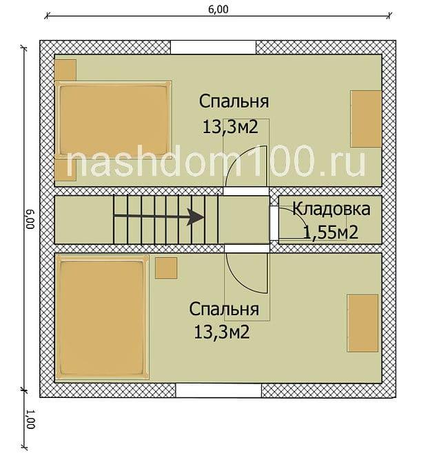 План 2 этажа каркасного дома Д-1