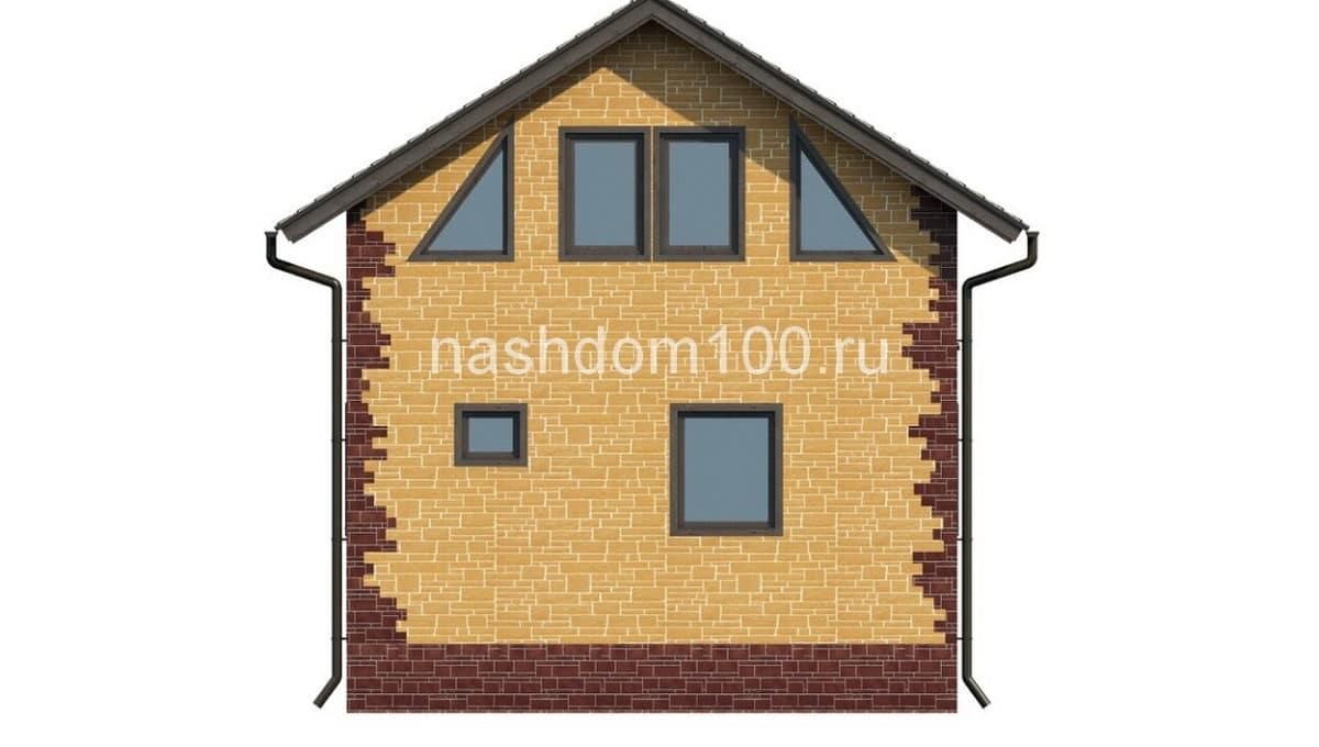 Фасад 3 каркасного дома Д-1