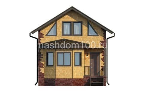 Фасад 1 каркасного дома Д-1