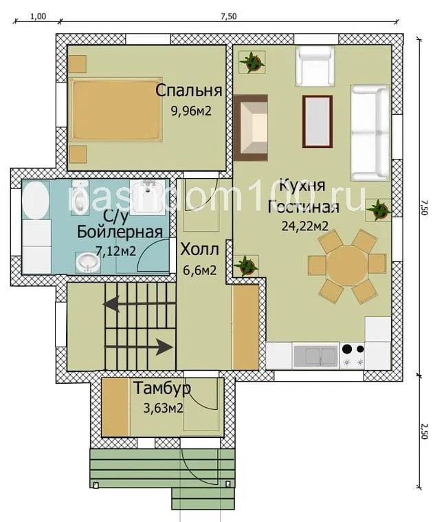 План 1 этажа  каркасного дома Д-13