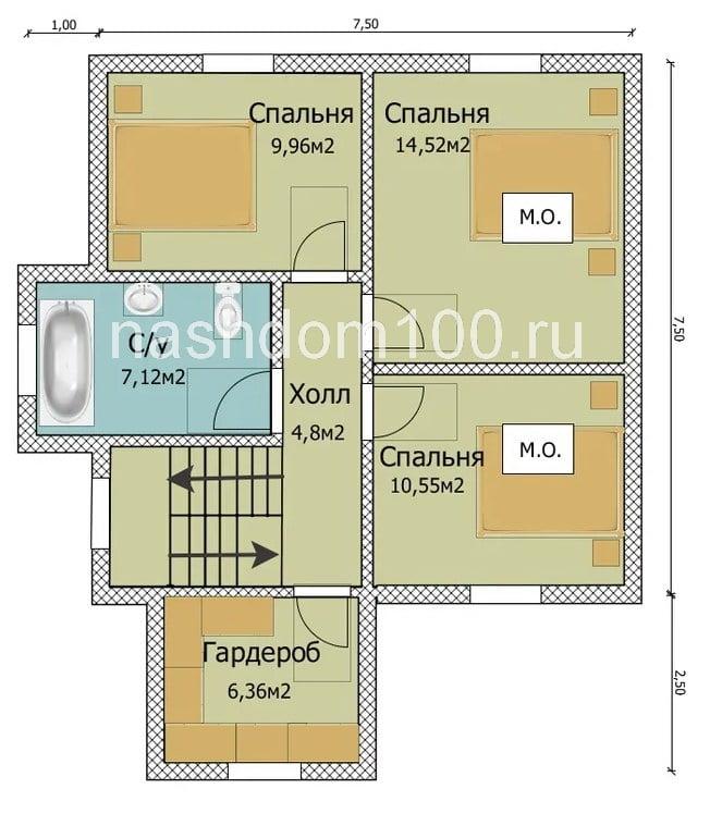 План 2 этажа  каркасного дома Д-13