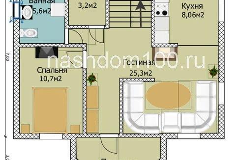 План 1 этажа каркасного дома Д-12