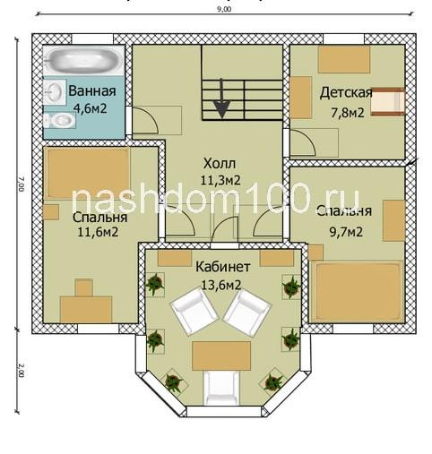 План 2 этажа каркасного дома Д-12