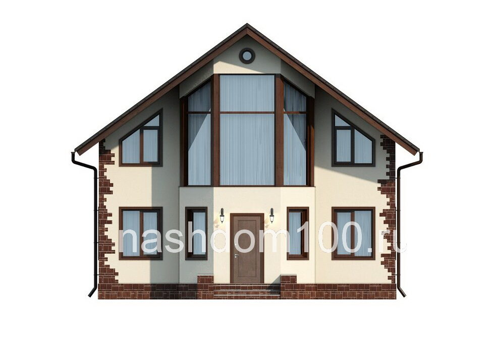 Фасад 1 каркасного дома Д-12