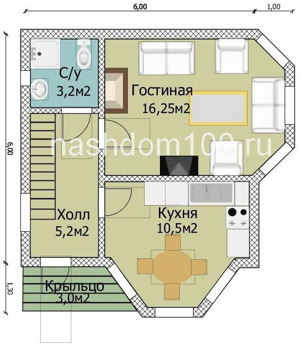 План 1 этажа каркасного дома Д-15