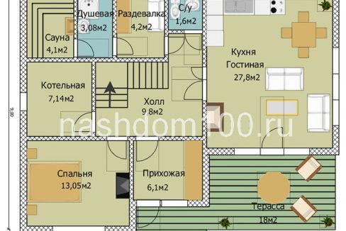 План 1 этажа каркасного дома Д-29