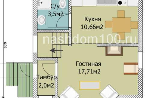 План 1 этажа каркасного дома Д-3