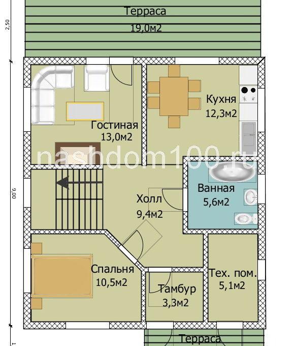 План 1 этажа каркасного дома Д-30