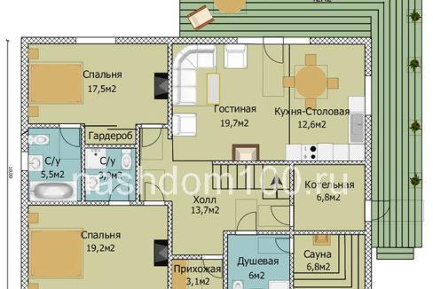 План 1 этажа каркасного дома Д-31