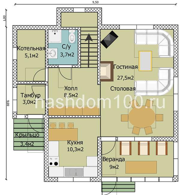 План 1 этажа каркасного дома Д-32
