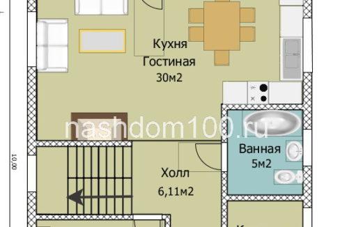План 1 этажа каркасного дома Д-33