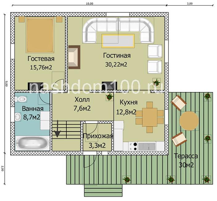 План 1 этажа каркасного дома Д-4