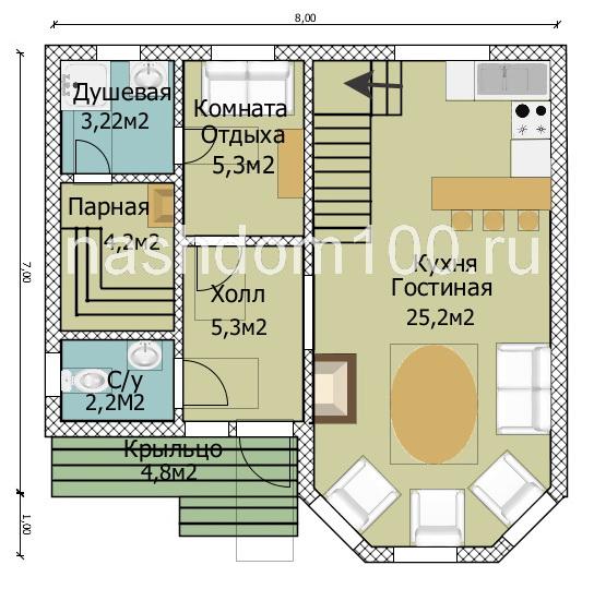 План 1 этажа каркасного дома Д-27