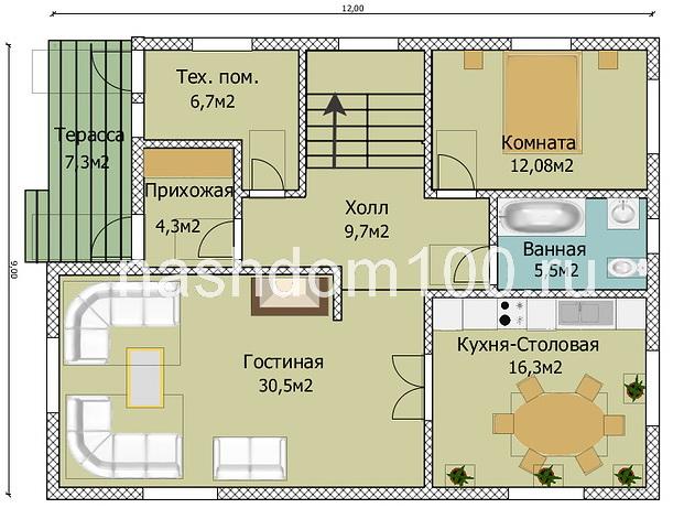 План 1 этажа  каркасного дома Д-23