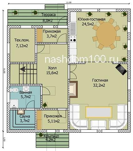 План 1 этажа каркасного дома Д-21