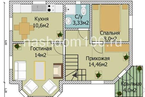 План 2 этажа каркасного дома Д-2