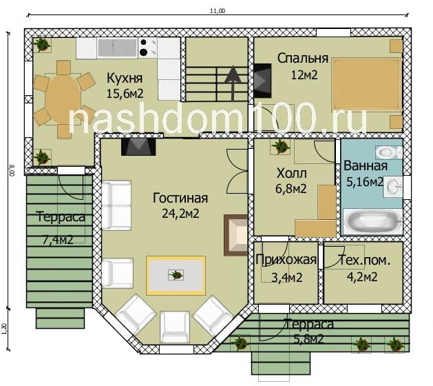 План 1 этажа каркасного дома Д-20