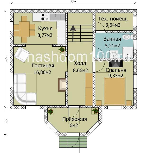 План 1 этажа каркасного дома Д-5
