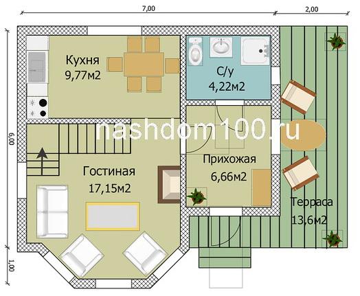План 1 этажа каркасного дома Д-14