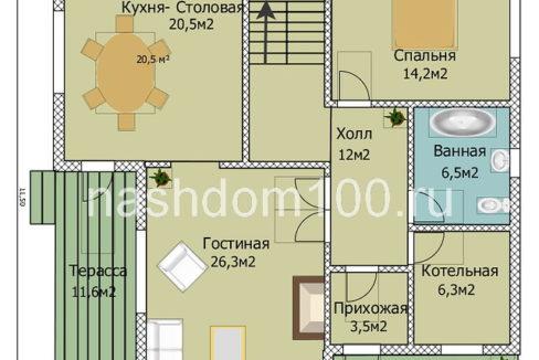 План 1 этажа каркасного дома Д-25