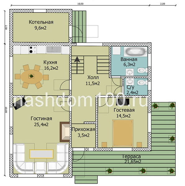 План 1 этажа каркасного дома Д-8