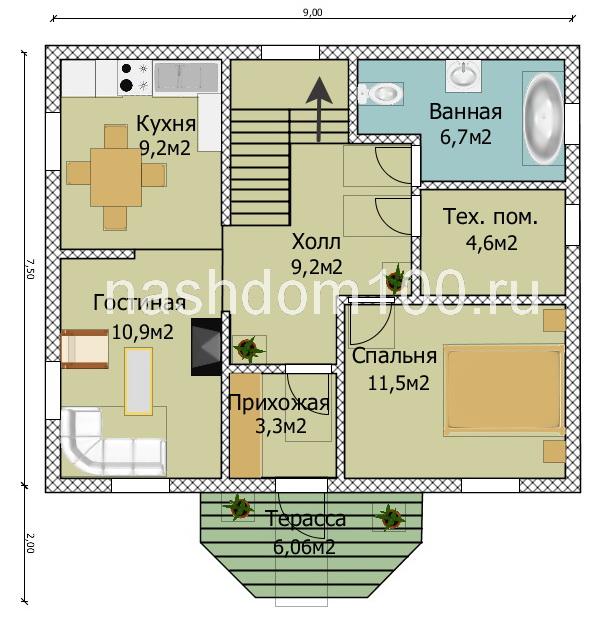 План 1 этажа каркасного дома Д-26
