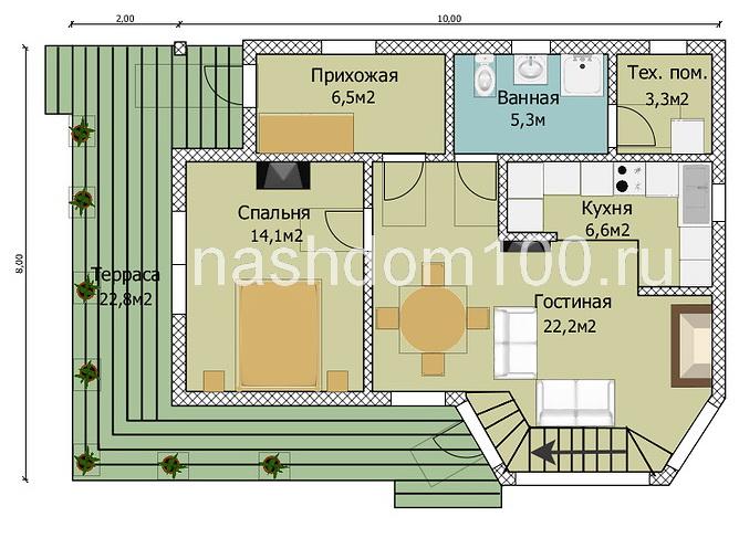 План 1 этажа каркасного дома Д-34