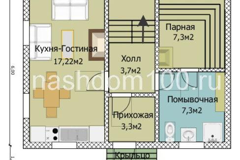План 1 этажа каркасного дома Д-28