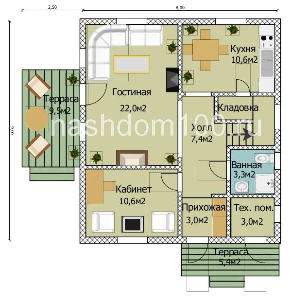 План 1 этажа каркасного дома Д-22