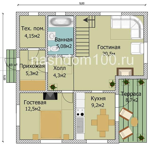 План 1 этажа каркасного дома Д-18
