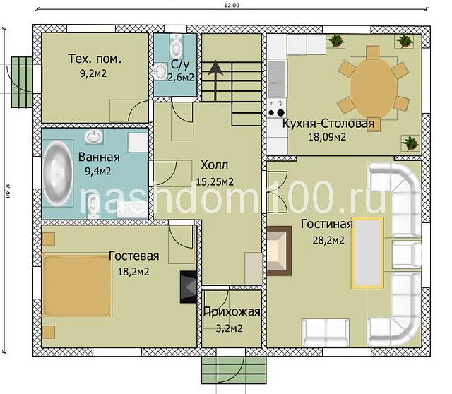 План 1 этажа каркасного дома Д-10