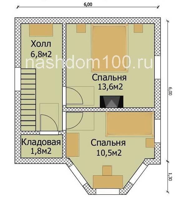 План 2 этажа каркасного дома Д-15