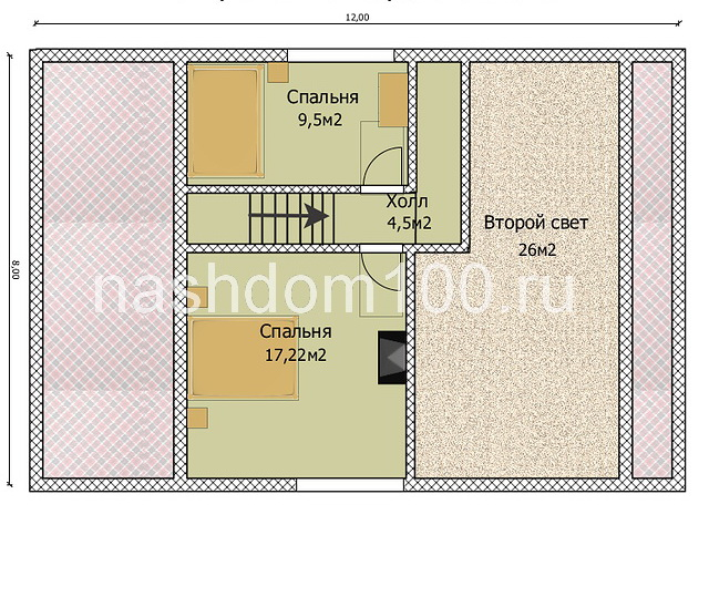План 2 этажа каркасного дома Д-29