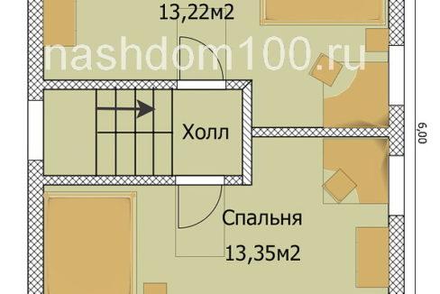 План 2 этажа каркасного дома Д-3