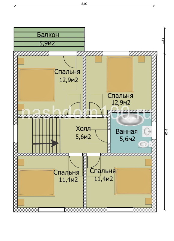 План 2 этажа каркасного дома Д-30