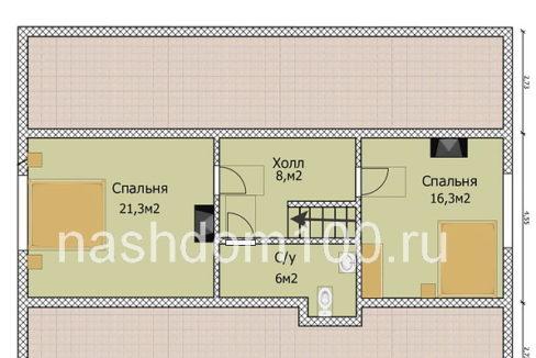 План 2 этажа каркасного дома Д-31
