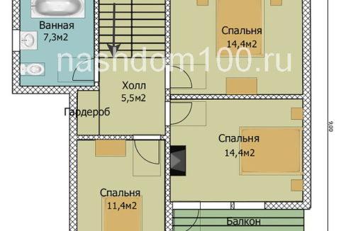 План 2 этажа каркасного дома Д-32