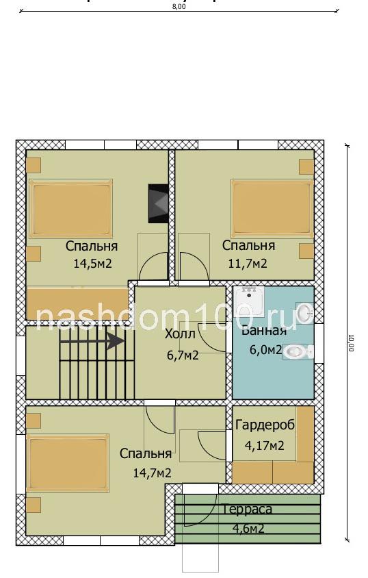 План 2 этажа каркасного дома Д-33