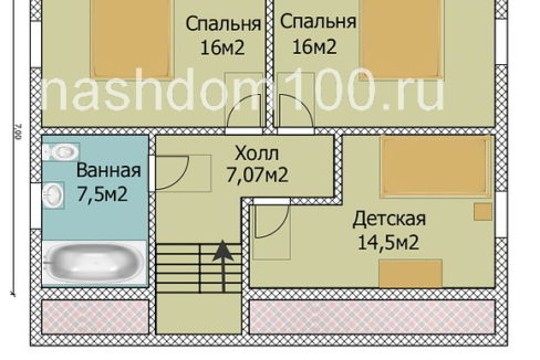 План 2 этажа каркасного дома Д-4