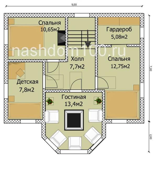 План 2 этажа каркасного дома Д-5