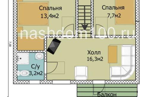 План 2 этажа каркасного дома Д-27