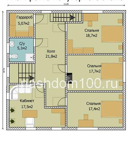 План 2 этажа каркасного дома Д-21