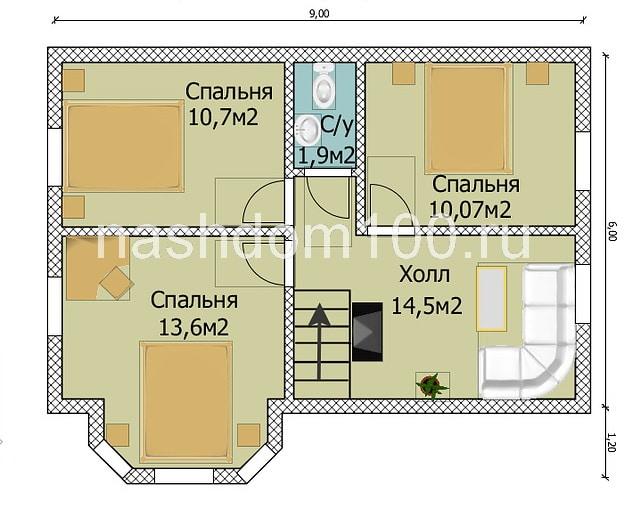 План 1 этажа каркасного дома Д-2