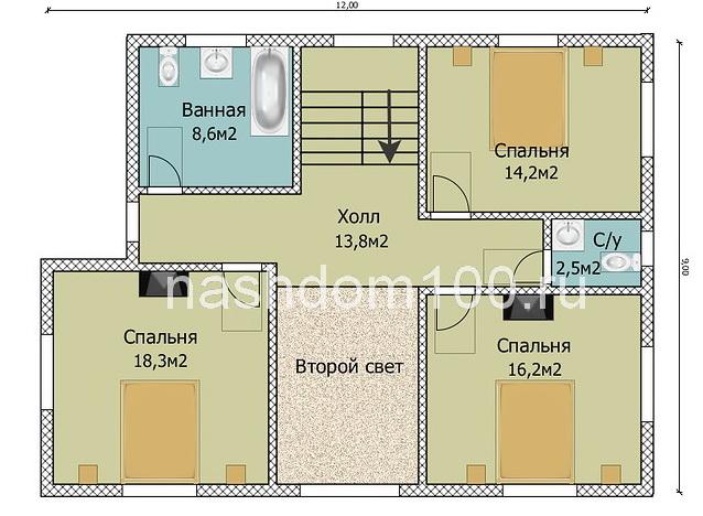 План 2 этажа каркасного дома Д-23
