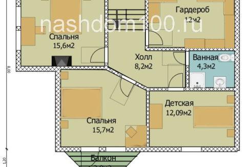 План 2 этажа каркасного дома Д-20
