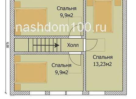 План 2 этажа каркасного дома Д-14
