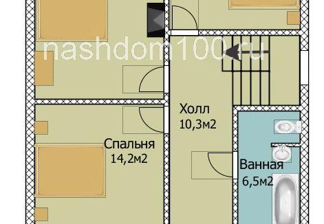 План 2 этажа каркасного дома Д-22