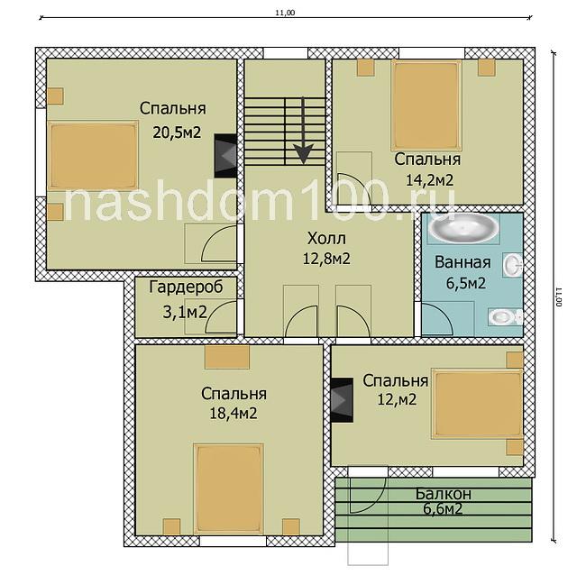 План 2 этажа каркасного дома Д-25