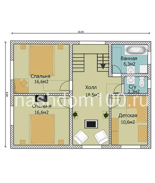 План 2 этажа каркасного дома Д-8